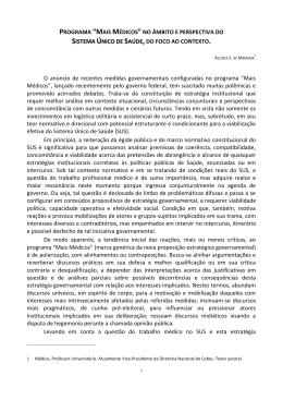 """PROGRAMA """"MAIS MÉDICOS"""" NO ÂMBITO E"""