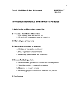 Innovation Networks and Network Policies