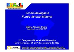 Lei de inovação e Fundo Setorial Mineral