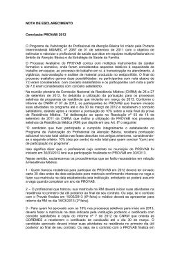 NOTA DE ESCLARECIMENTO Conclusão PROVAB 2012 O