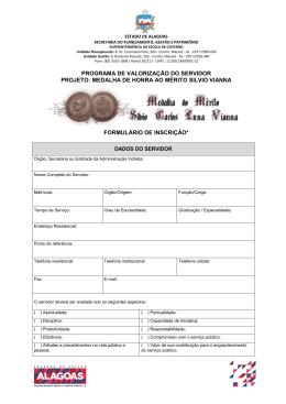 Formulário de inscrição - Medalha Silvio Vianna