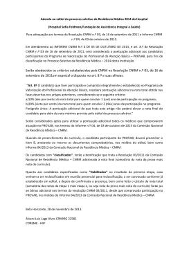 Adendo ao edital do processo seletivo da Residência Médica 2014