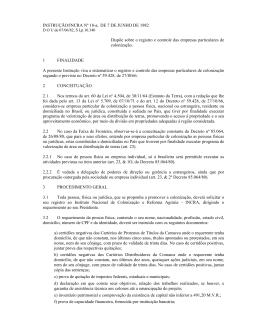 INSTRUÇÃO/INCRA Nº 18-a, DE 7 DE JUNHO DE 1982 Dispõe