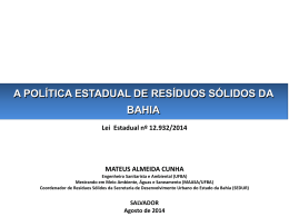 A POLÍTICA ESTADUAL DE RESÍDUOS SÓLIDOS DA BAHIA
