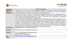 Instituição Polícia Civil da Bahia Identificação (Missão