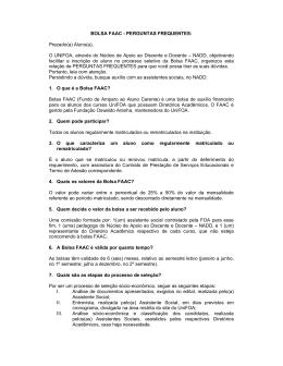 BOLSA FAAC - PERGUNTAS FREQUENTES: Prezado(a
