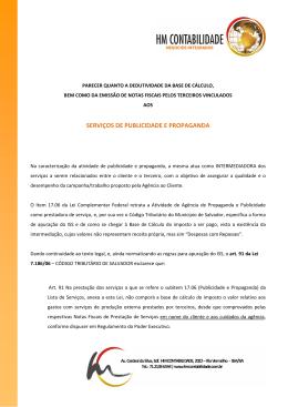 SERVIÇOS DE PUBLICIDADE E PROPAGANDA