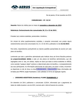 Esclarecimento dos comunicados 20 21 e 22 de 2015
