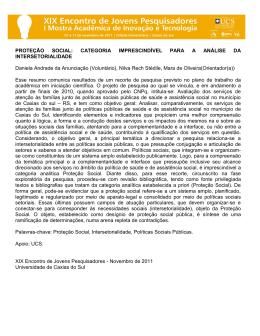 PROTEÇÃO SOCIAL: CATEGORIA IMPRESCINDÍVEL PARA