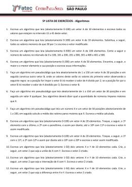 5ª LISTA DE EXERCÍCIOS