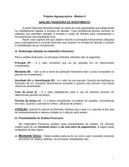 Projetos Agropecuários - Módulo 4 ANÁLISE FINANCEIRA DE