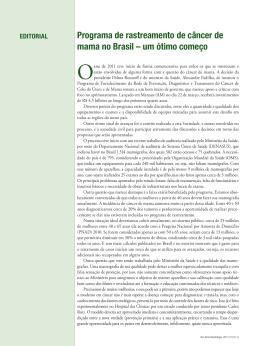 um ótimo começo - Revista Brasileira de Mastologia