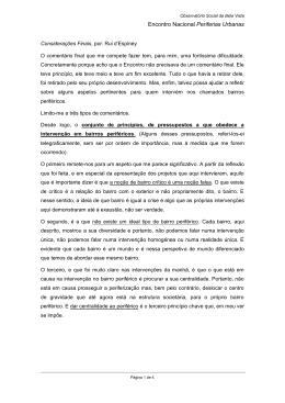"""Considerações Finais do Encontro Nacional """"Periferias Urbanas"""""""