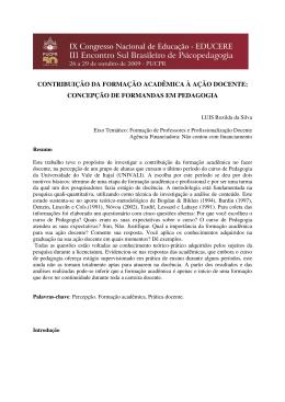 contribuição da formação acadêmica à ação docente
