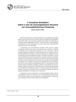 I Consenso Brasileiro sobre o Uso de Imunoglobulina Humana em