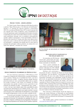EM DESTAQUE - International Plant Nutrition Institute