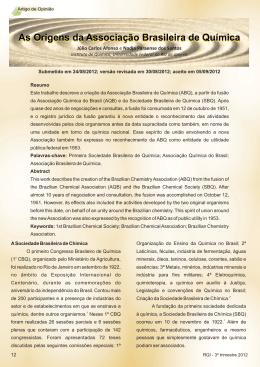 Artigo de Opinião - Associação Brasileira de Química