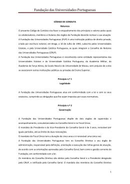 Código de conduta da FUP - Fundação das Universidades