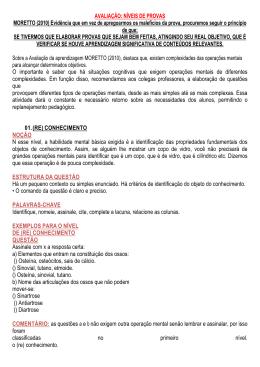 AVALIAÇÃO: NÍVEIS DE PROVAS MORETTO (2010