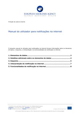 Manual do utilizador para notificações na internet