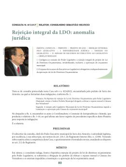 Rejeição integral da LDO: anomalia jurídica