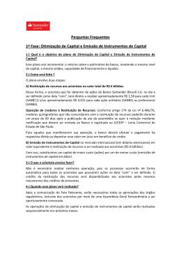 Perguntas Frequentes 1ª Fase: Otimização de Capital e
