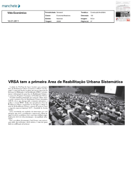 VRSA tem a primeira Área de Reabilitação Urbana Sistemática