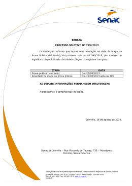 ERRATA PROCESSO SELETIVO Nº 745/2013 O SENAC/SC