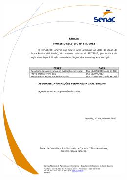 ERRATA PROCESSO SELETIVO Nº 587/2013 O SENAC/SC