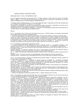 Dá nova redação às disposições da Resolução CFB N