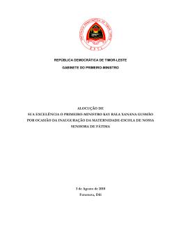 Alocução de S.E. o Primeiro-Ministro Kay Rala Xanana Gusmão