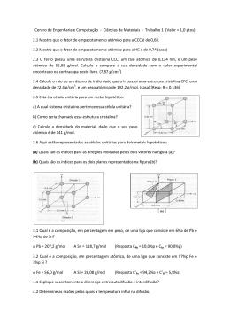 Ciências de Materiais - Trabalho 1 (Valor = 1,0 ptos)