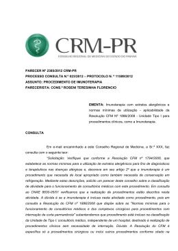 PARECER Nº/2012 CRM-PR - Conselho Federal de Medicina