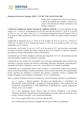 Resolução da Diretoria Colegiada - RDC Nº 233, DE 17 DE