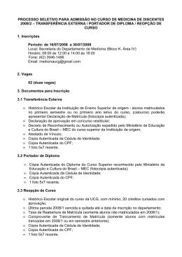 PROCESSO SELETIVO PARA ADMISSÃO NO CURSO DE