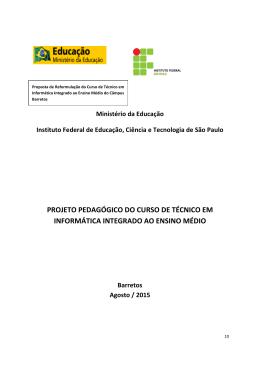 PROJETO PEDAGÓGICO DO CURSO DE TÉCNICO EM