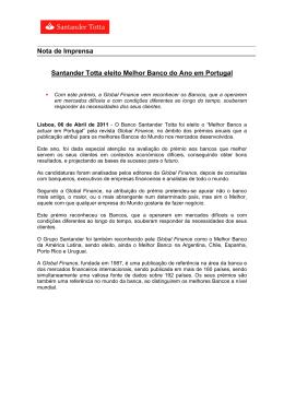 Santander Totta eleito Melhor Banco do Ano em Portugal pdf