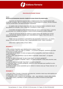 Exercícios de Coesão Textual Texto: Governo do