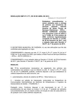 Resolução SMF Nº 2.771 29/04/2013 Estabelece