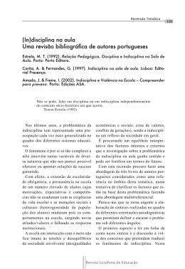 (In)disciplina na aula - Revistas Científico