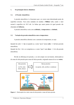 1. Os principais fatores climáticos 1.1. A Pressão Atmosférica A
