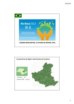 9/6/2013 1 Características da Região Administrativa de