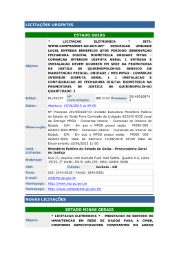 LICITAÇÕES URGENTES ESTADO GOIÁS - Sinduscon