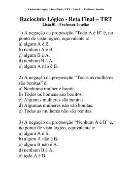 Raciocínio Lógico - Reta Final – TRT Lista 01