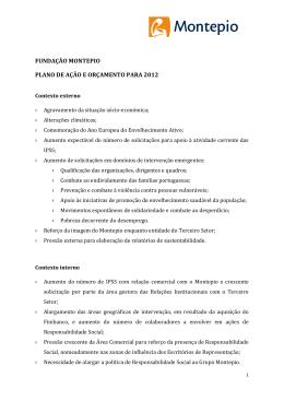 projecto de plano de acção e orçamento da fundação montepio
