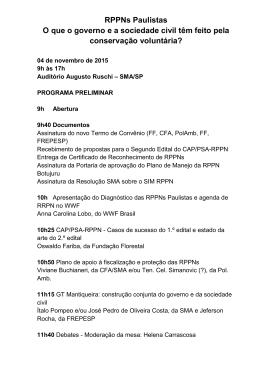 RPPNs Paulistas O que o governo e a sociedade civil têm feito pela
