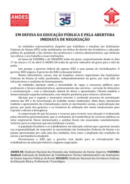 Em Defesa da Educação Pública e Pela Abertura - Andes-SN