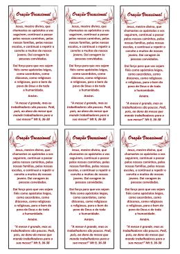 Oração Vocacional (texto para impressão)