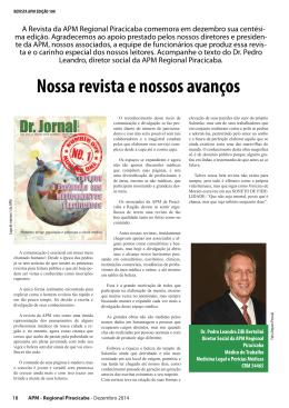 Nossa revista e nossos avanços. Dr. Pedro