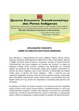 declaração conjunta sobre os direitos dos povos indígenas